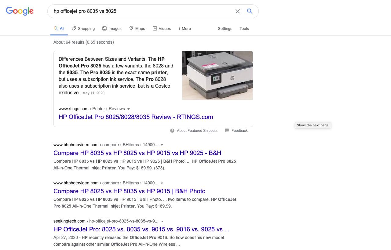 vs in google
