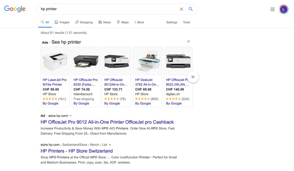 google search tabs