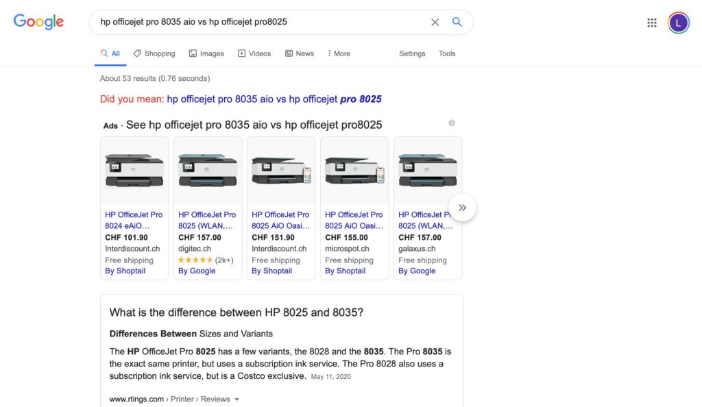 google serach VS
