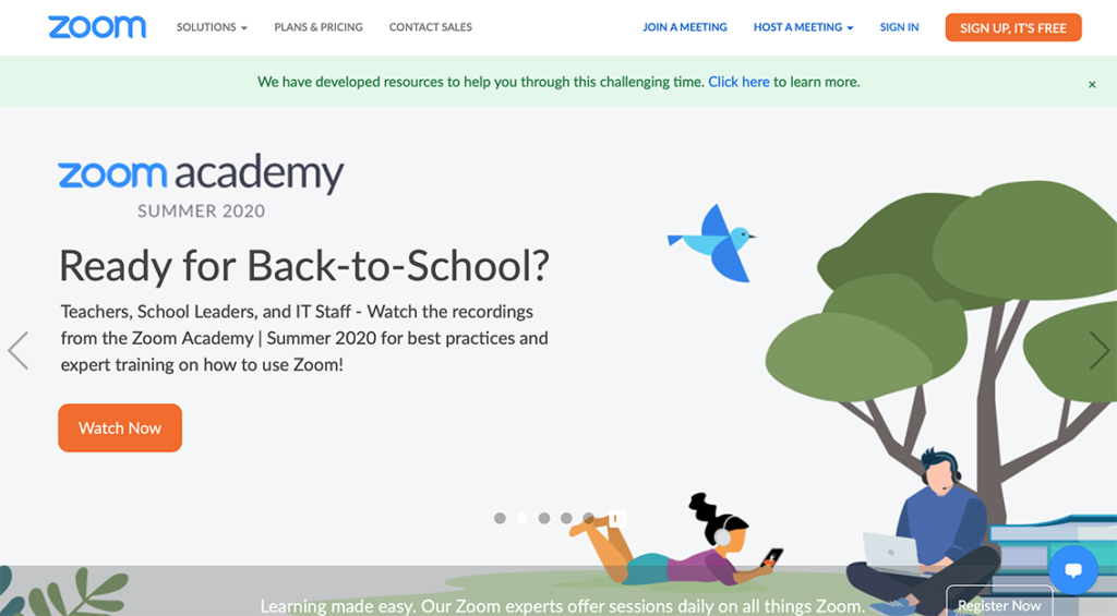 Zoom home page
