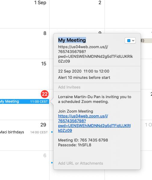 My meeting outlook calendar Zoom