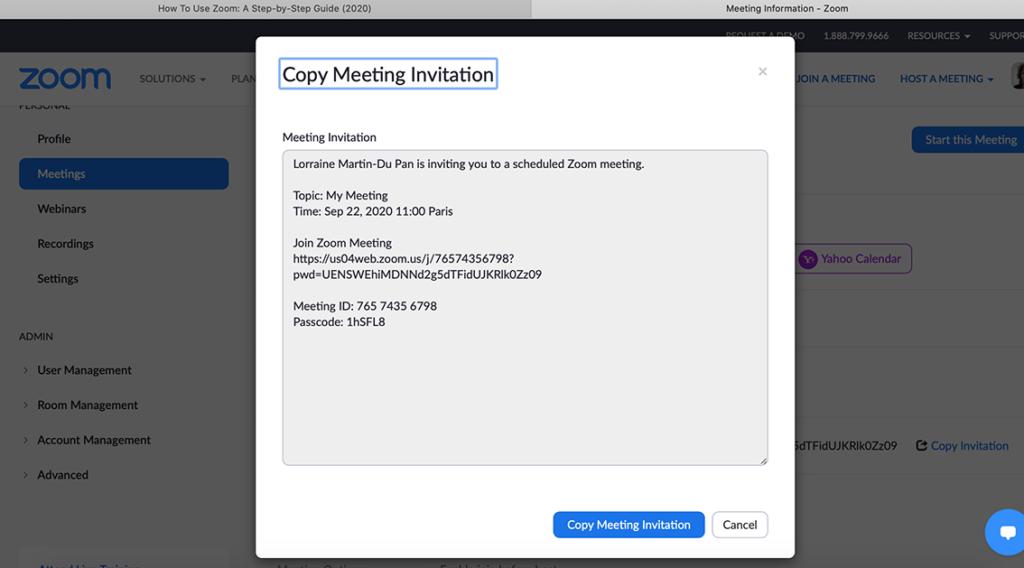 Copy meeting invitation Zoom