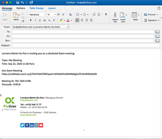 Paste zoom meeting into an e-mail