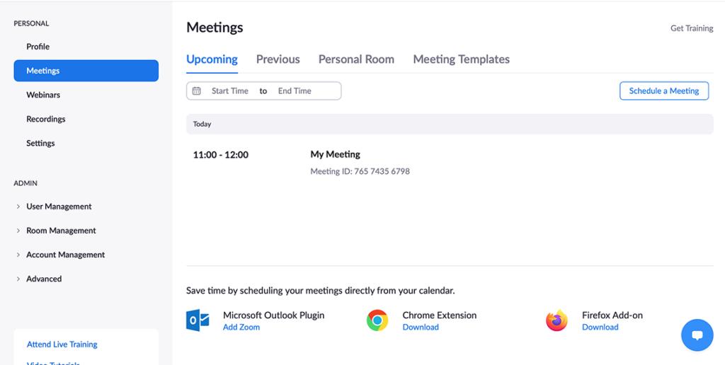 Zoom meetings from website