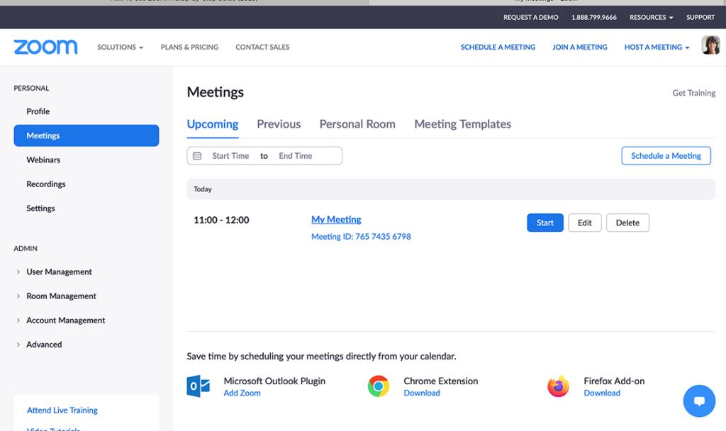 start meeting Zoom website