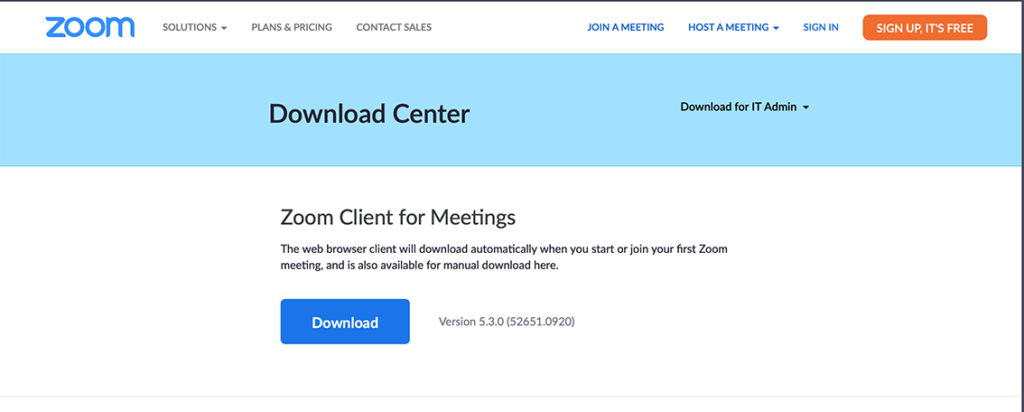 Zoom download Center