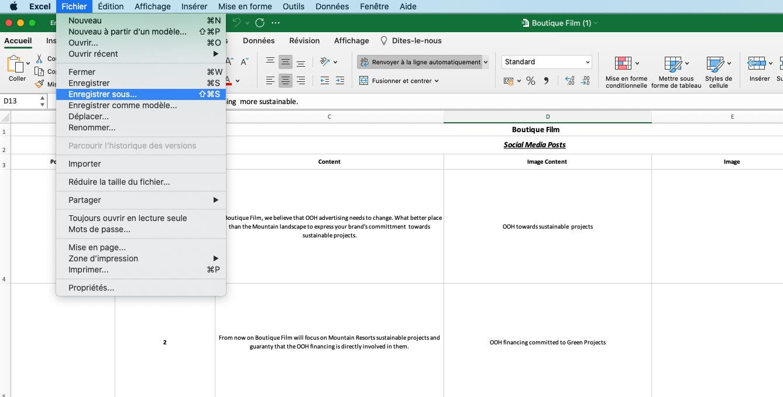 Excel Enregister sous